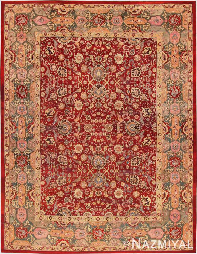 Red Antique Agra Indian Rug #41269 by Nazmiyal Antique Rugs