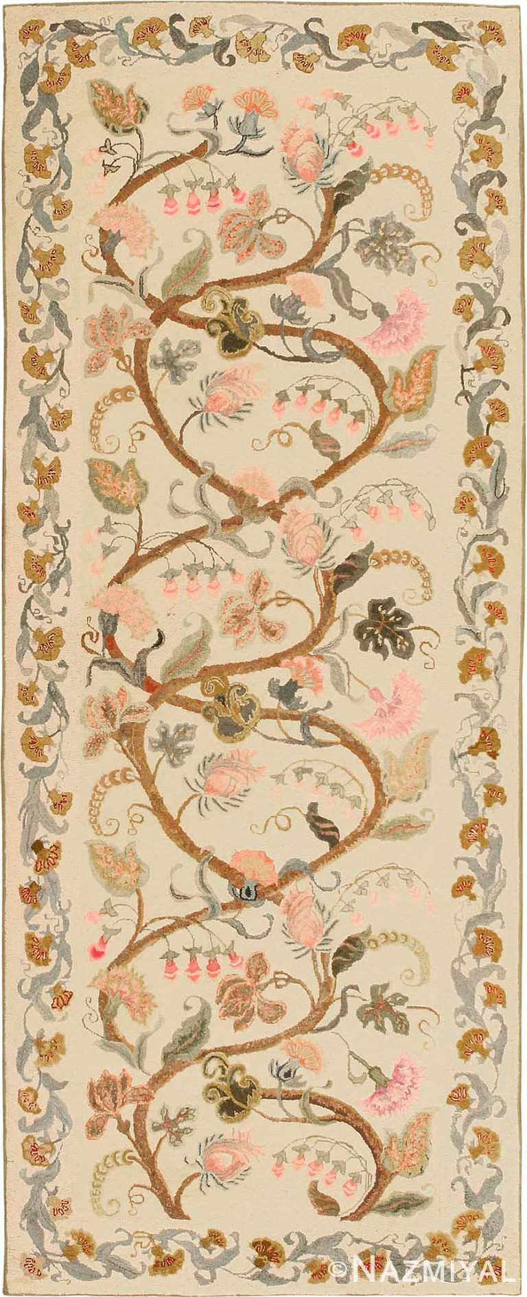 Floral Antique American Hooked Runner Rug #2694 by Nazmiyal Antique Rugs