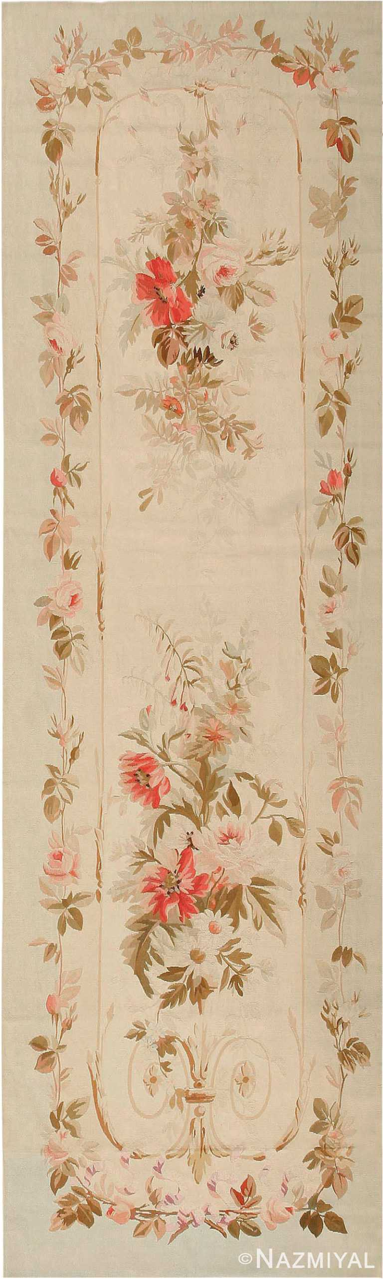 Antique French Aubusson Runner Rug #2855 by Nazmiyal Antique Rugs