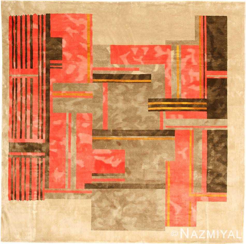 vintage mid century square silk chinese art deco rug 3103 Nazmiyal