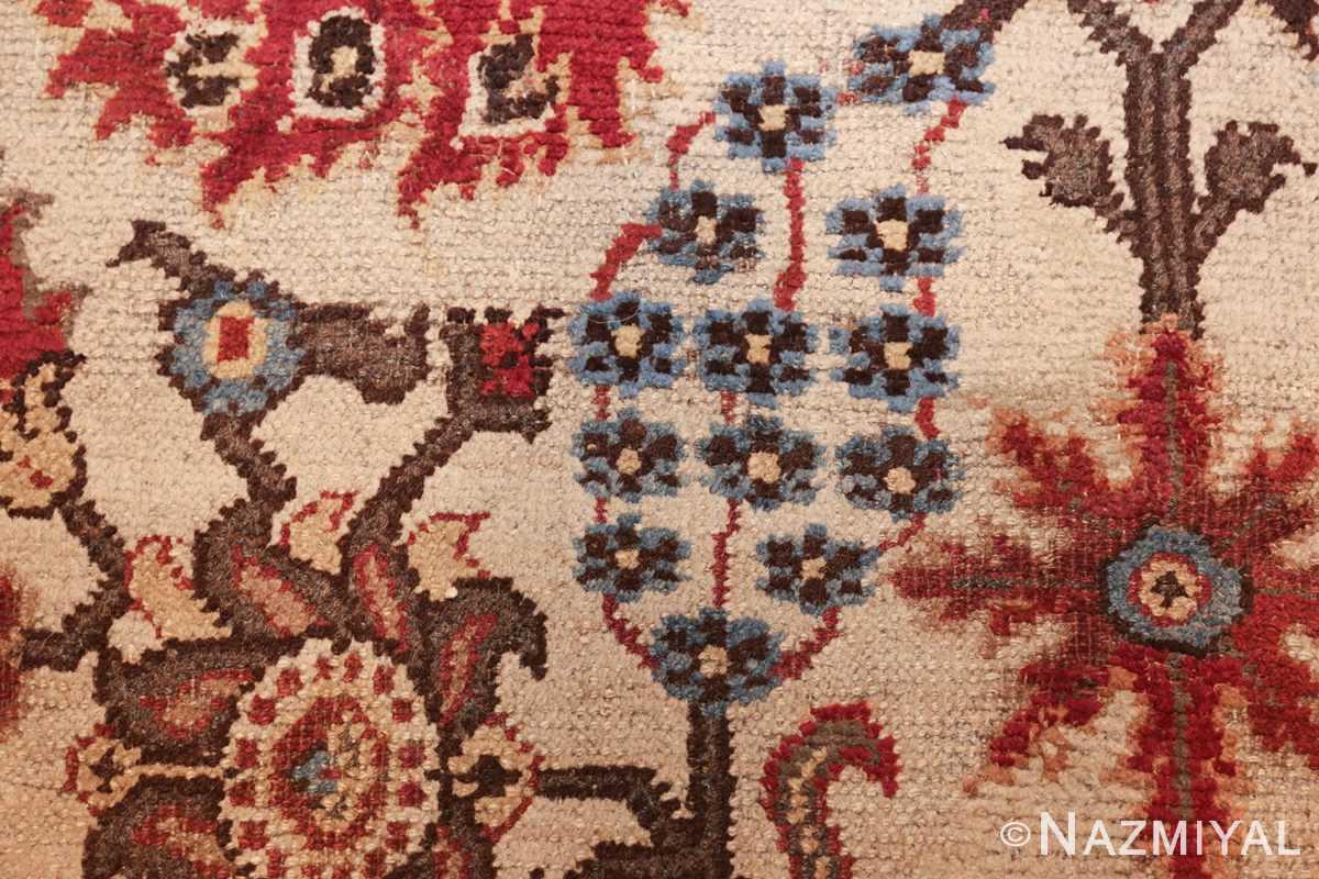long and narrow ivory antique indian agra rug 3200 blue Nazmiyal