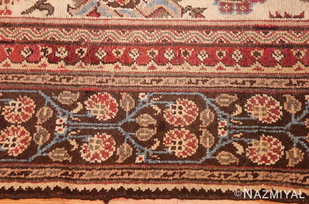 long and narrow ivory antique indian agra rug 3200 border Nazmiyal