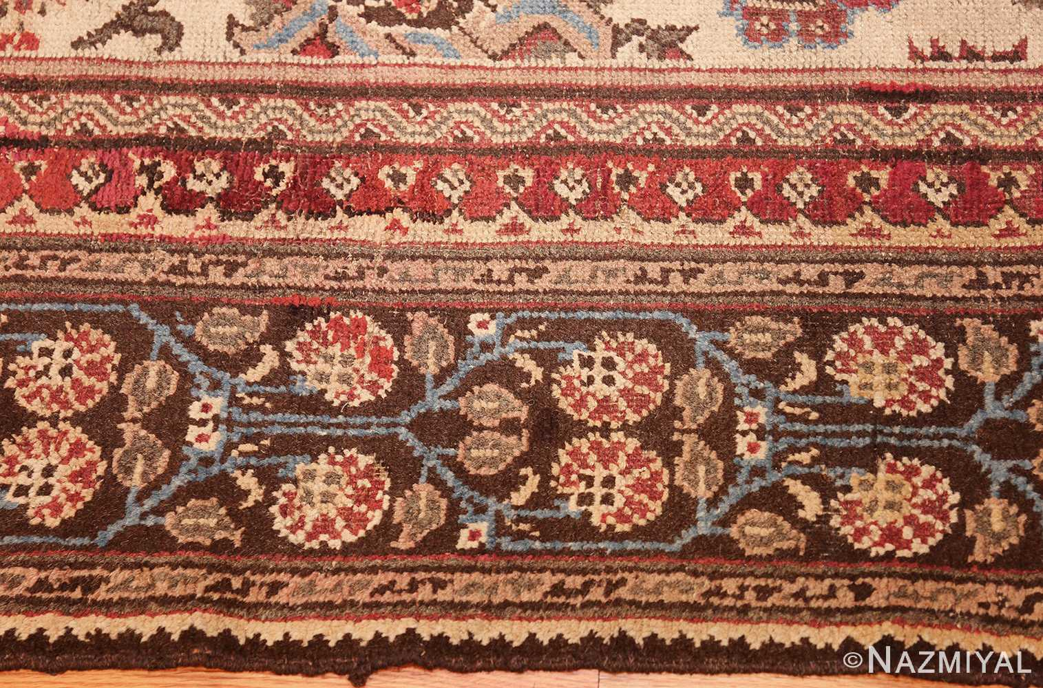 long and narrow ivory antique indian agra rug 3200 border Nazmiyal