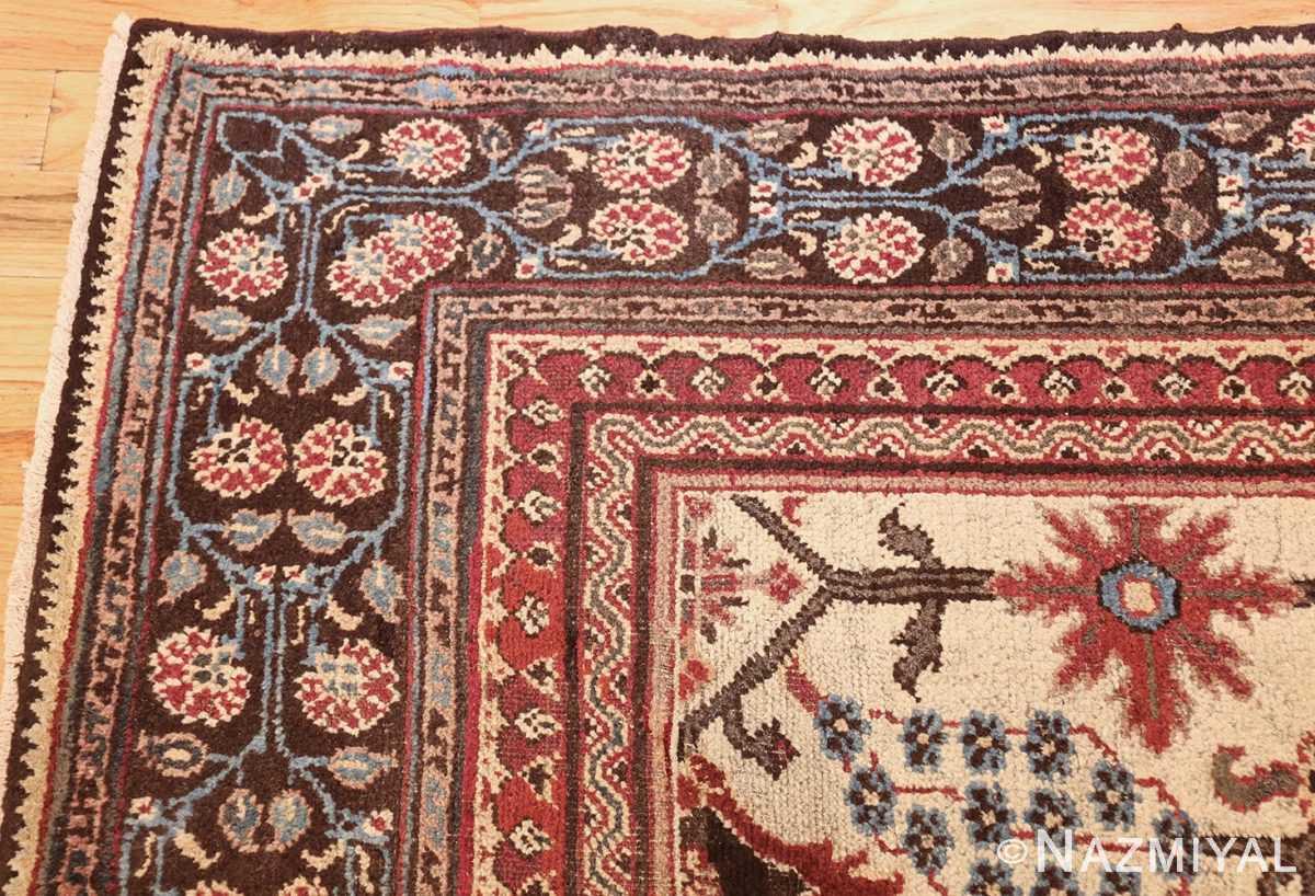 long and narrow ivory antique indian agra rug 3200 corner Nazmiyal