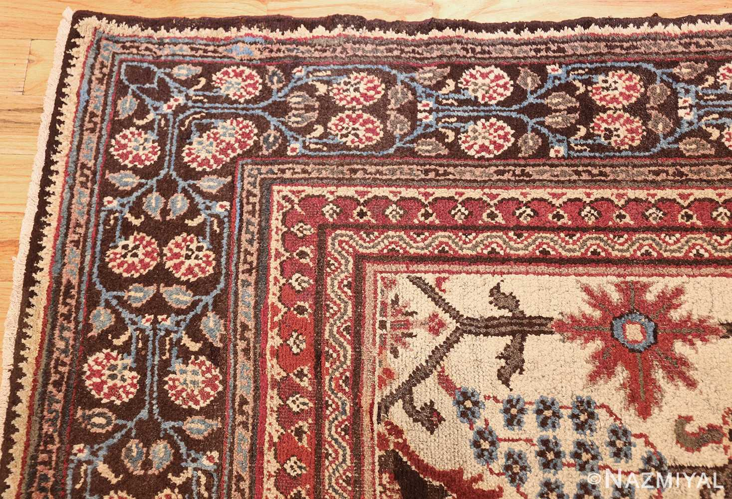 long and narrow ivory antique indian agra rug 3200 corner Nazmiyal