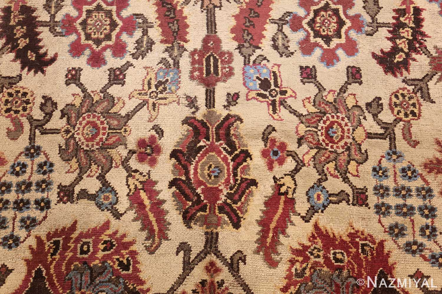long and narrow ivory antique indian agra rug 3200 flower Nazmiyal