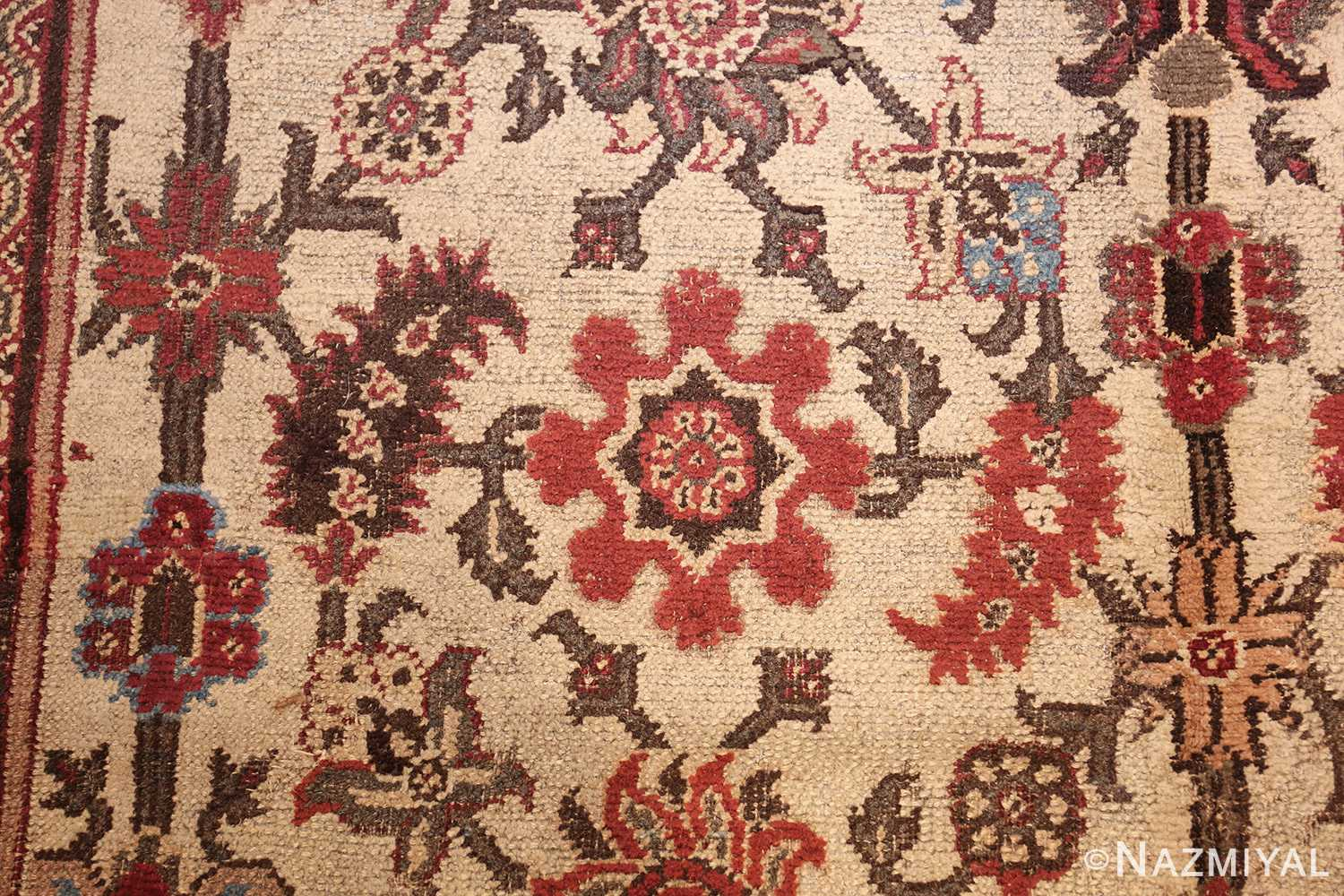 long and narrow ivory antique indian agra rug 3200 red Nazmiyal