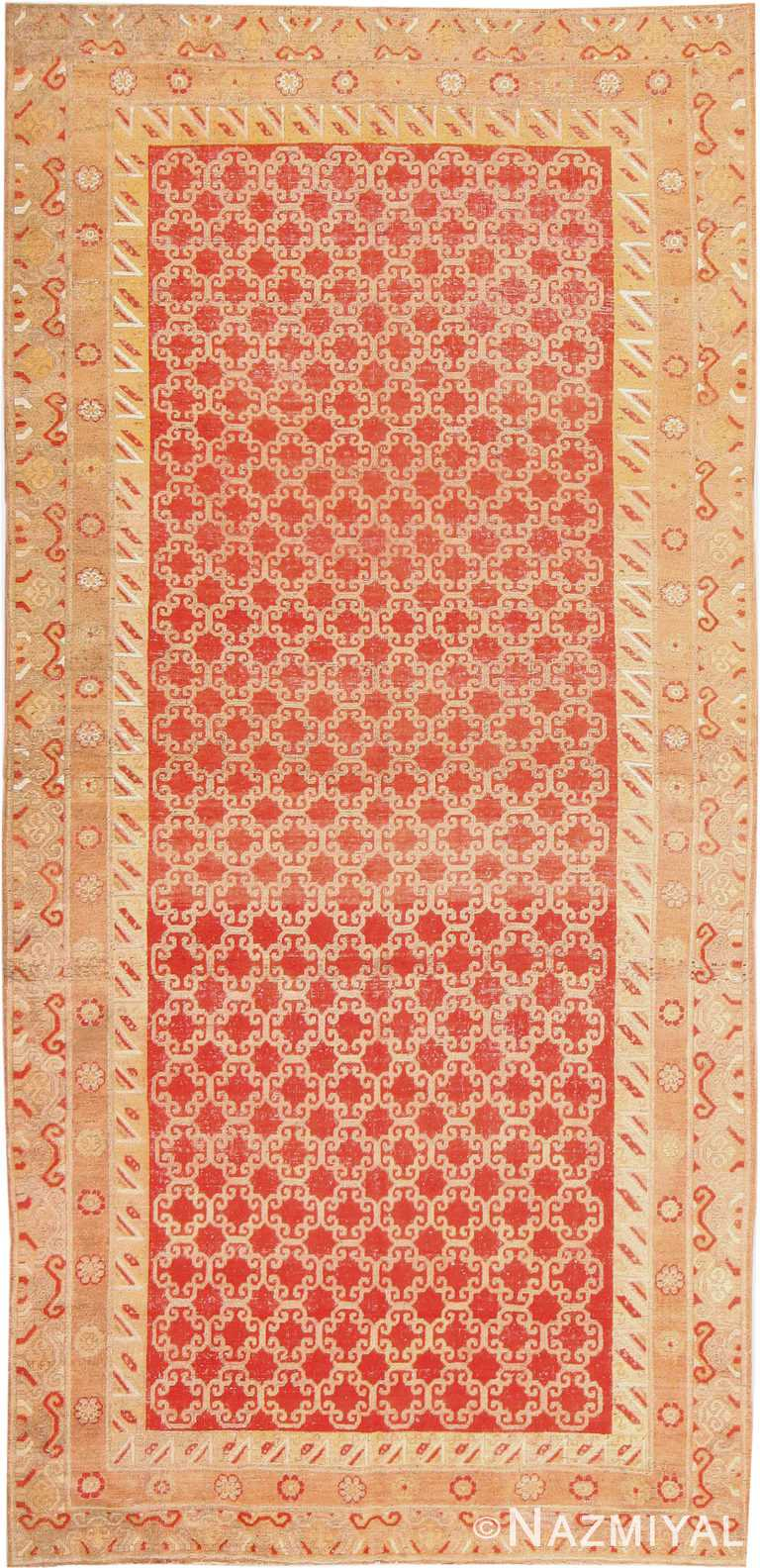 Long and Narrow Sunny Red Antique Khotan Rug #41865 by Nazmiyal Antique Rugs