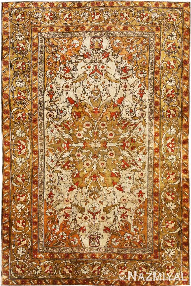 Small Scatter Size Antique Turkish Silk Rug #1188 by Nazmiyal Antique Rugs