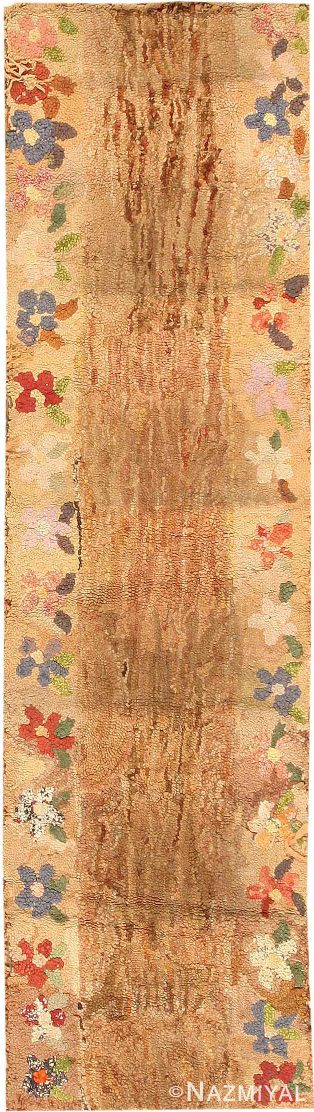 Antique American Hooked Runner Rug #2499 by Nazmiyal Antique Rugs