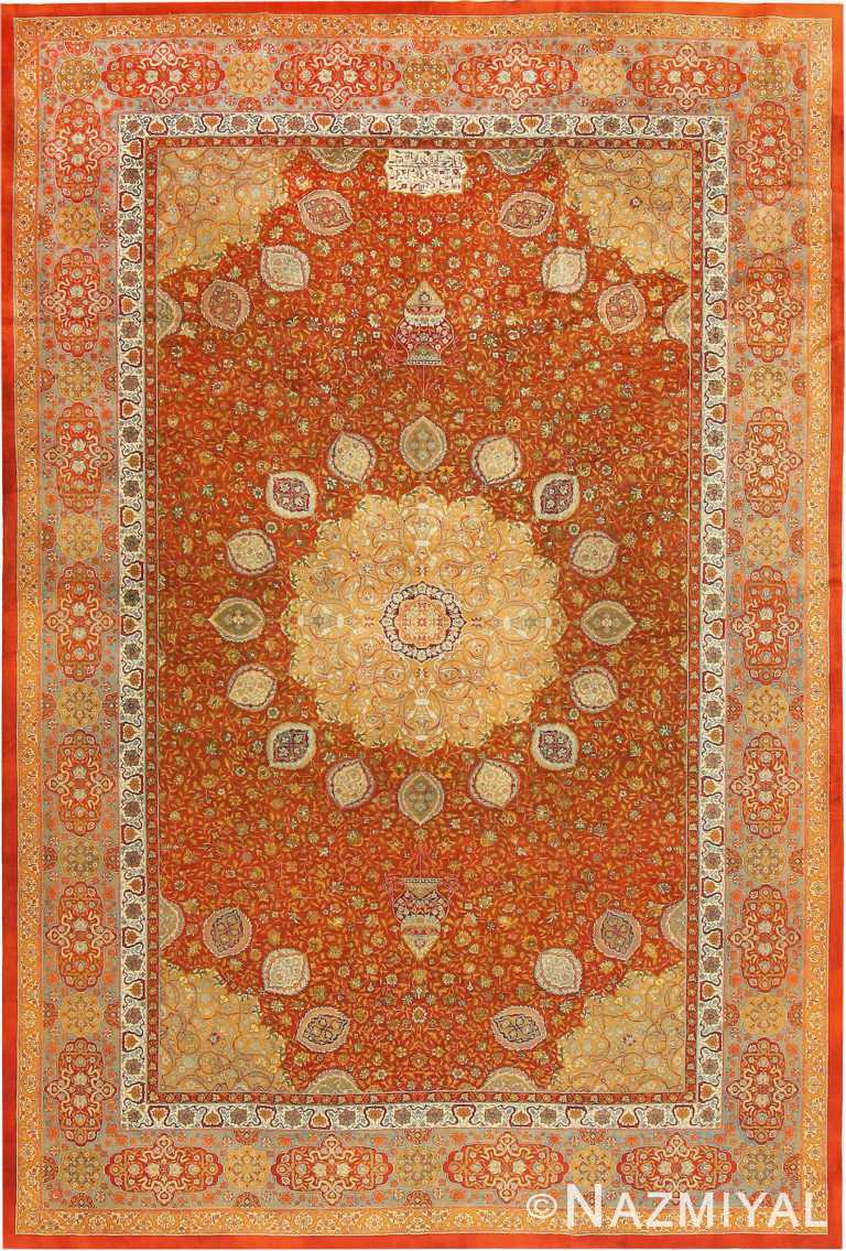 Antique Ardabil Design Amritsar Indian Rug 42157 by Nazmiyal Antique Rugs