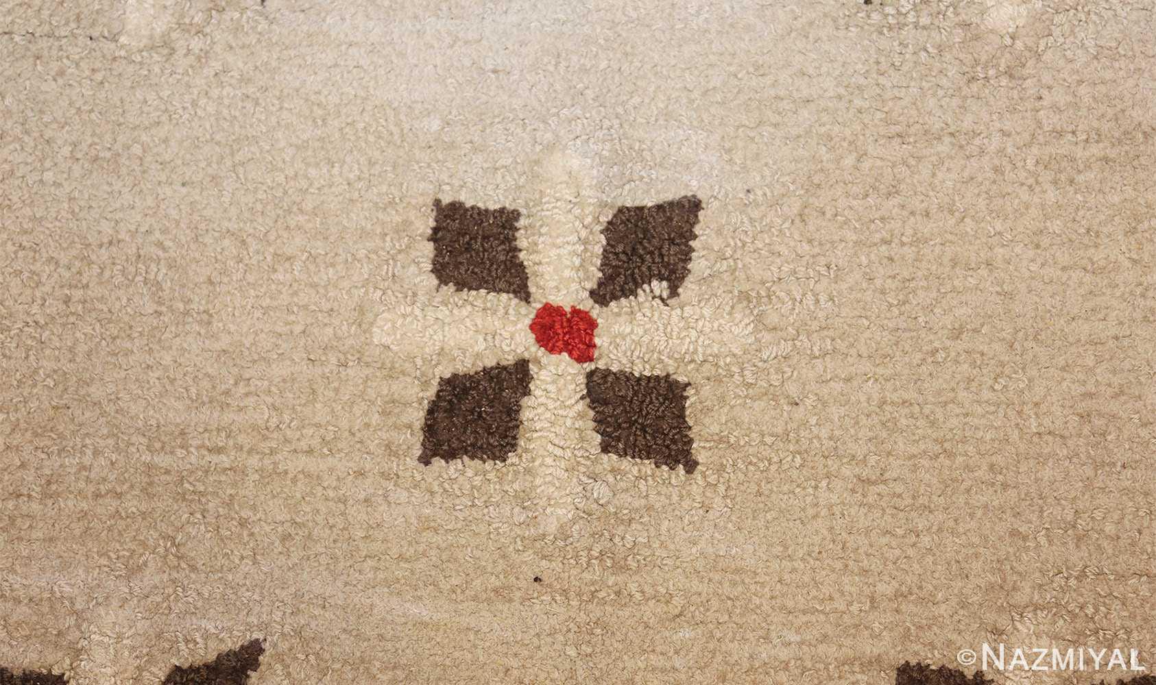 antique hooked american rug 2713 flower Nazmiyal