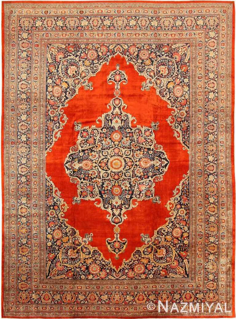 Antique Persian Silk Tabriz Haji Jalili Area Rug 7991 by Nazmiyal Antique Rugs