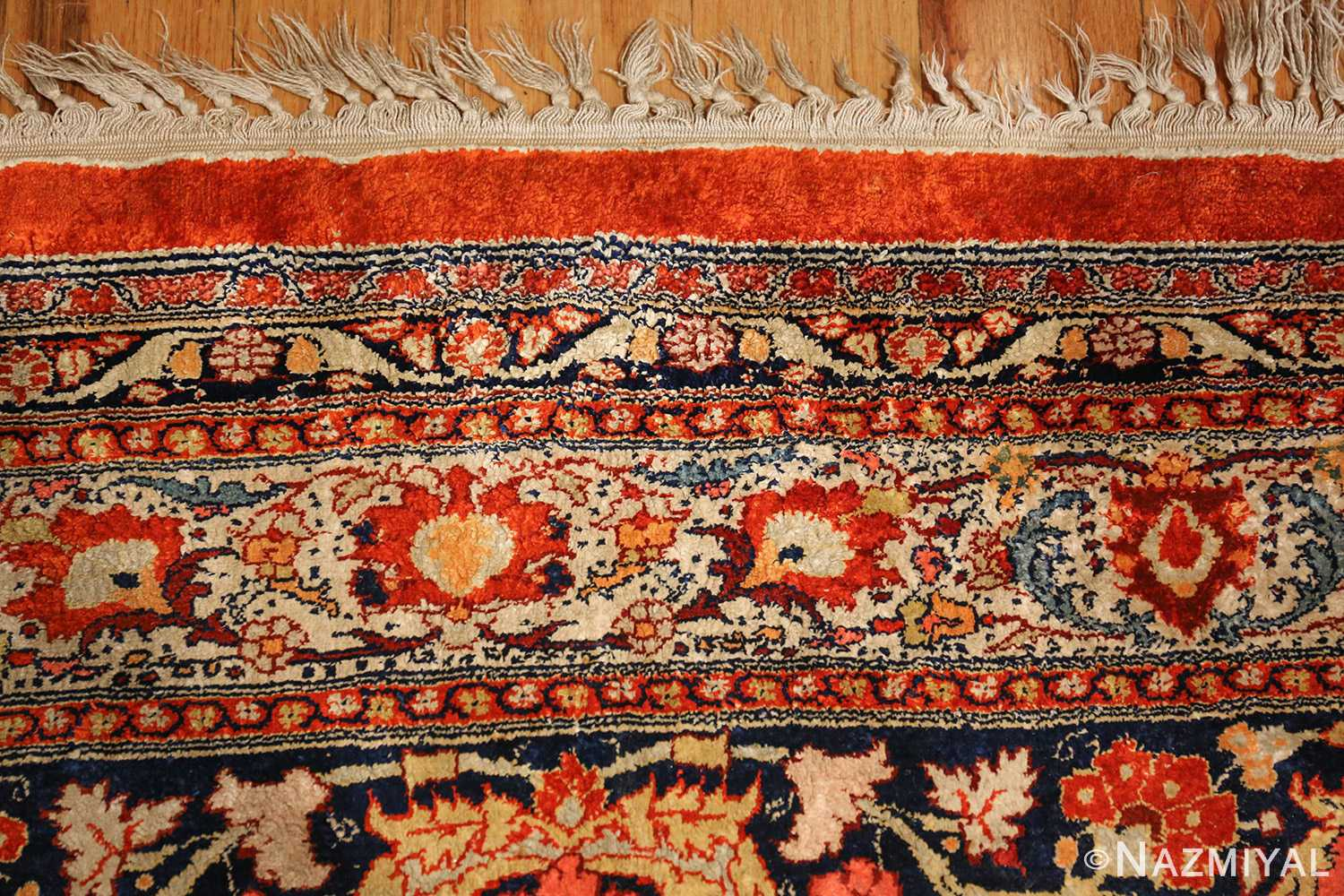 antique persian silk tabriz haji jalili rug 7991 fringes Nazmiyal