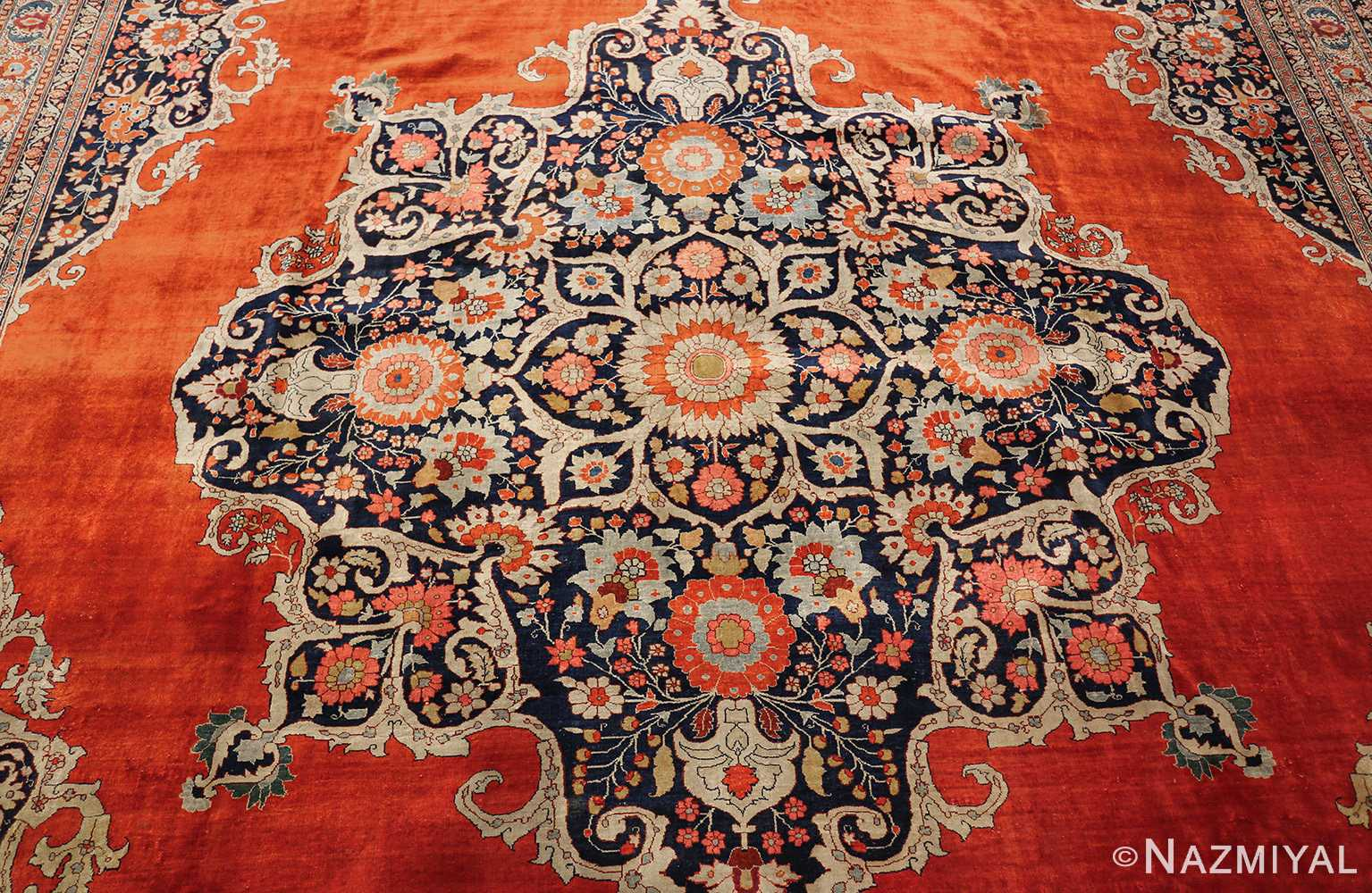 antique persian silk tabriz haji jalili rug 7991 medallion Nazmiyal