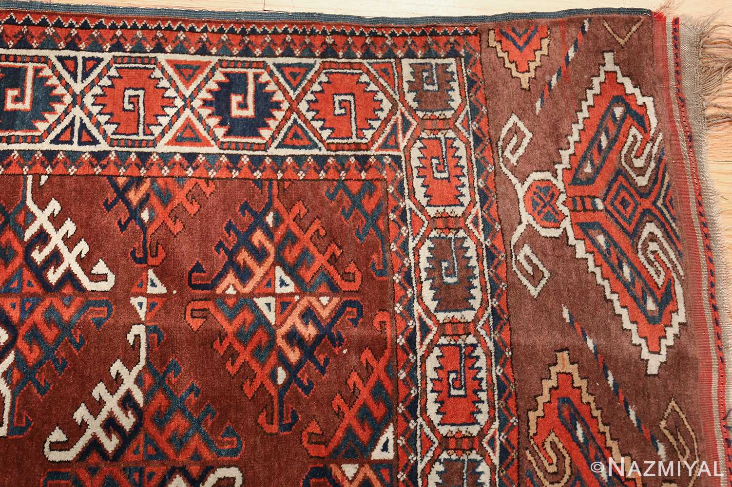 antique yomud oriental rug 41882 corner Nazmiyal