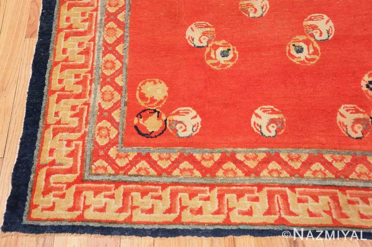 Corner Red Background Ningxhia Antique Chinese rug 43024 by Nazmiyal