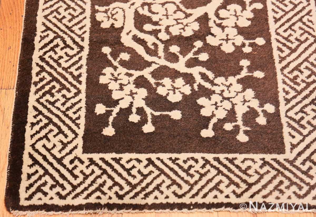 Corner Small Brown Antique Peking Chinese carpet 1620 by Nazmiyal
