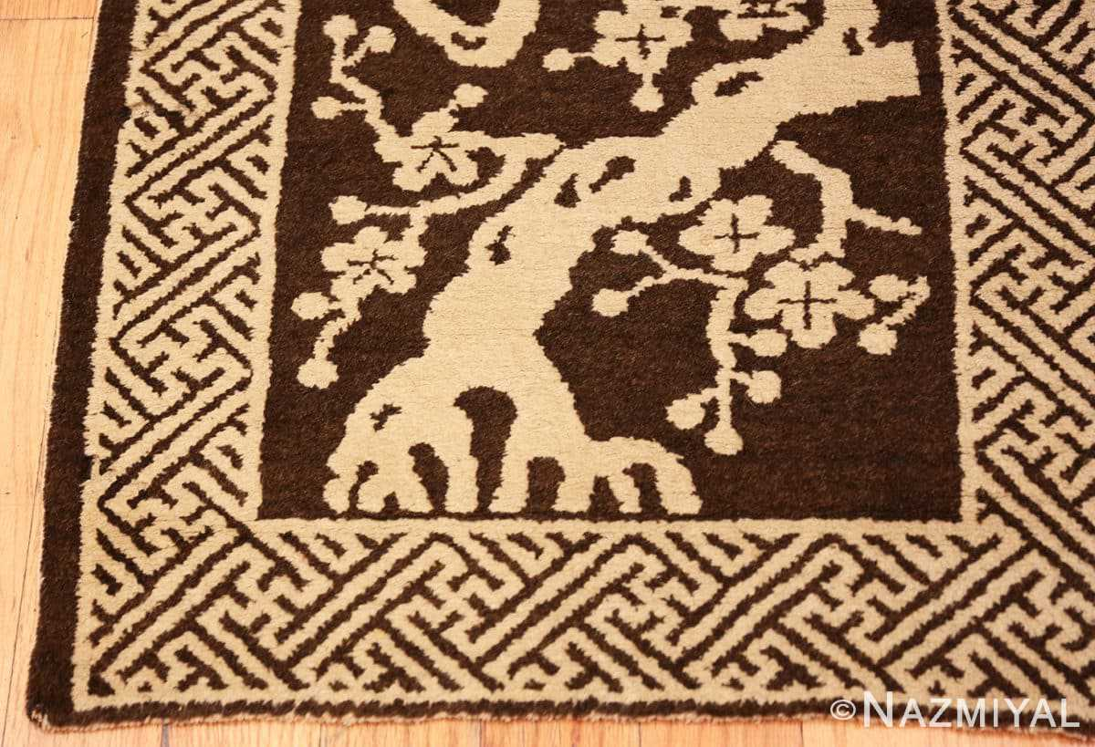 Corner Small Scatter size Brown Antique Chinese Peking rug 1619 by Nazmiyal