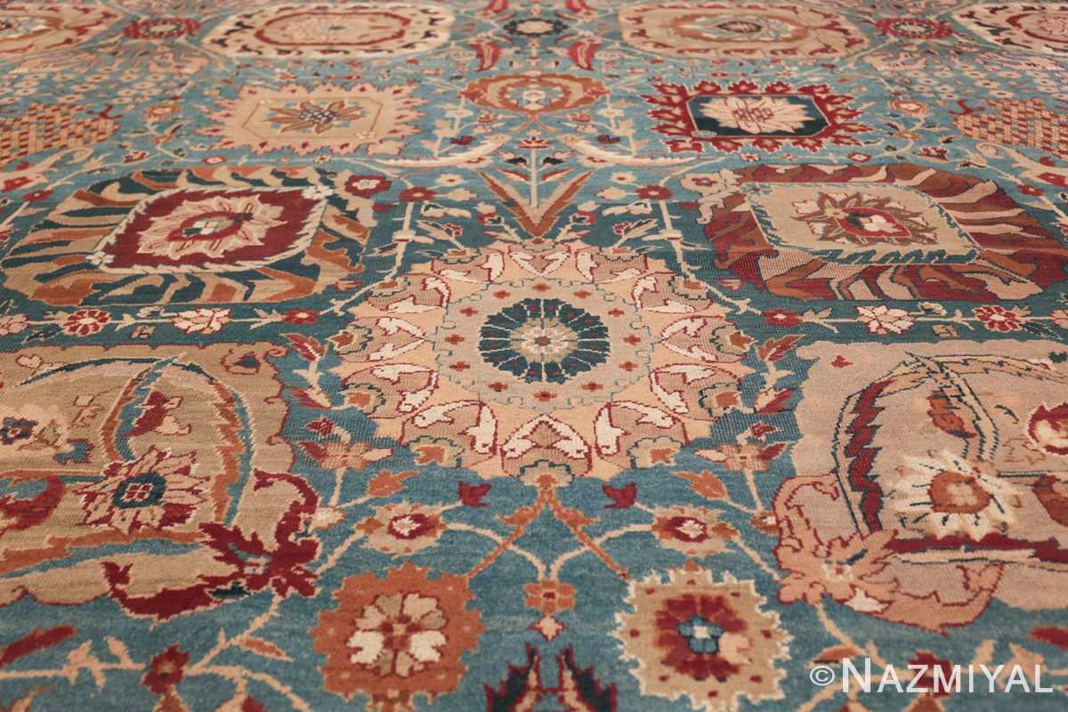 Large Antique Vase Design Indian Agra Rug 3342 White Leaves Nazmiyal