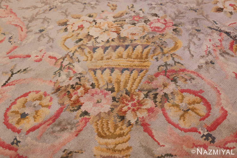 Large Floral Antique French Savonnerie Carpet 3253 Golden Vase Nazmiyal
