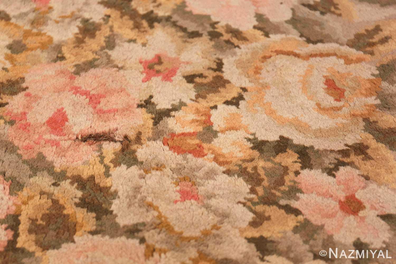 Large Floral Antique French Savonnerie Carpet 3253 Texture Closeup Nazmiyal