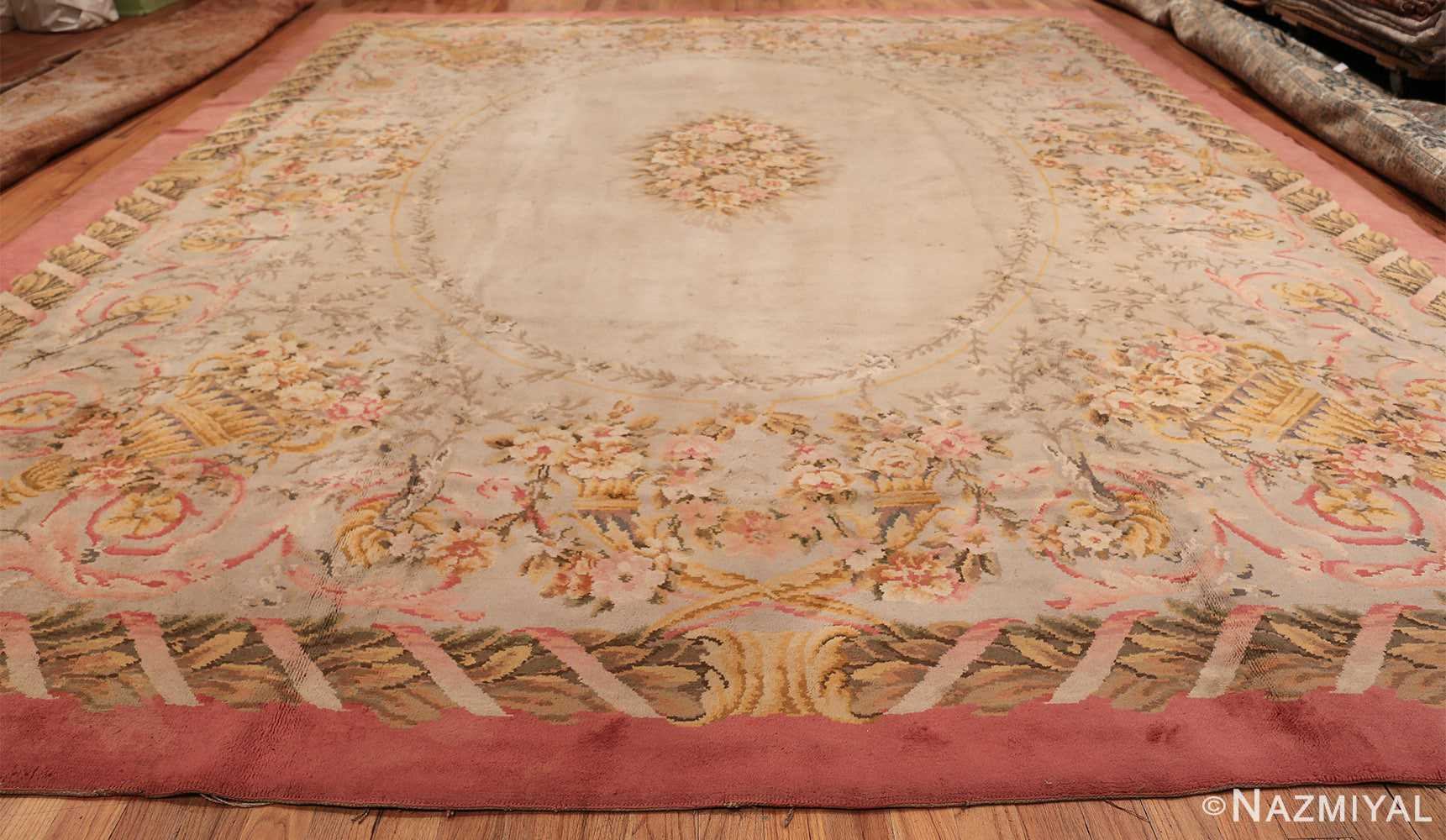 Large Floral Antique French Savonnerie Carpet 3253 Whole Design Nazmiyal