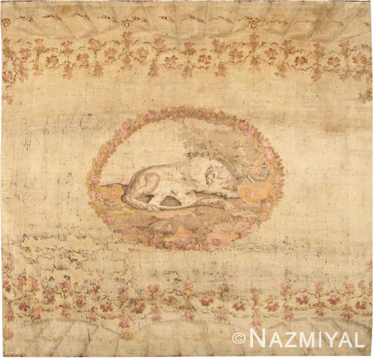 Rare Square Size Antique Lion Motif Ukrainian Rug #318 by Nazmiyal Antique Rugs