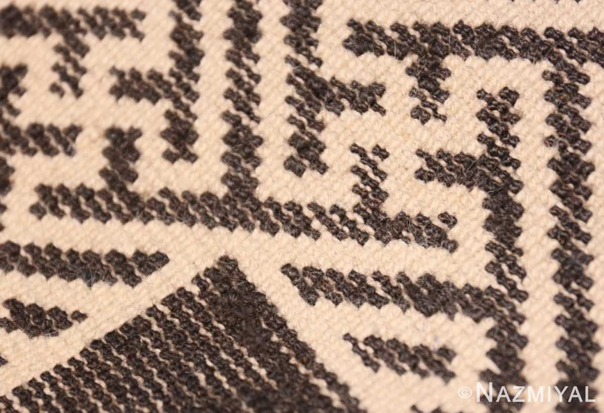 Weave detail Small Brown Antique Peking Chinese carpet 1620 by Nazmiya