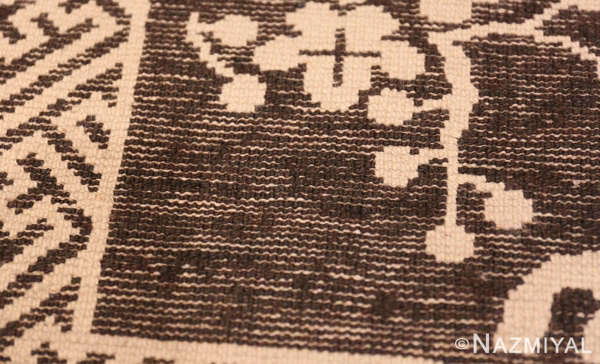 Weave detail Small Scatter size Brown Antique Chinese Peking rug 1619 by Nazmiyal