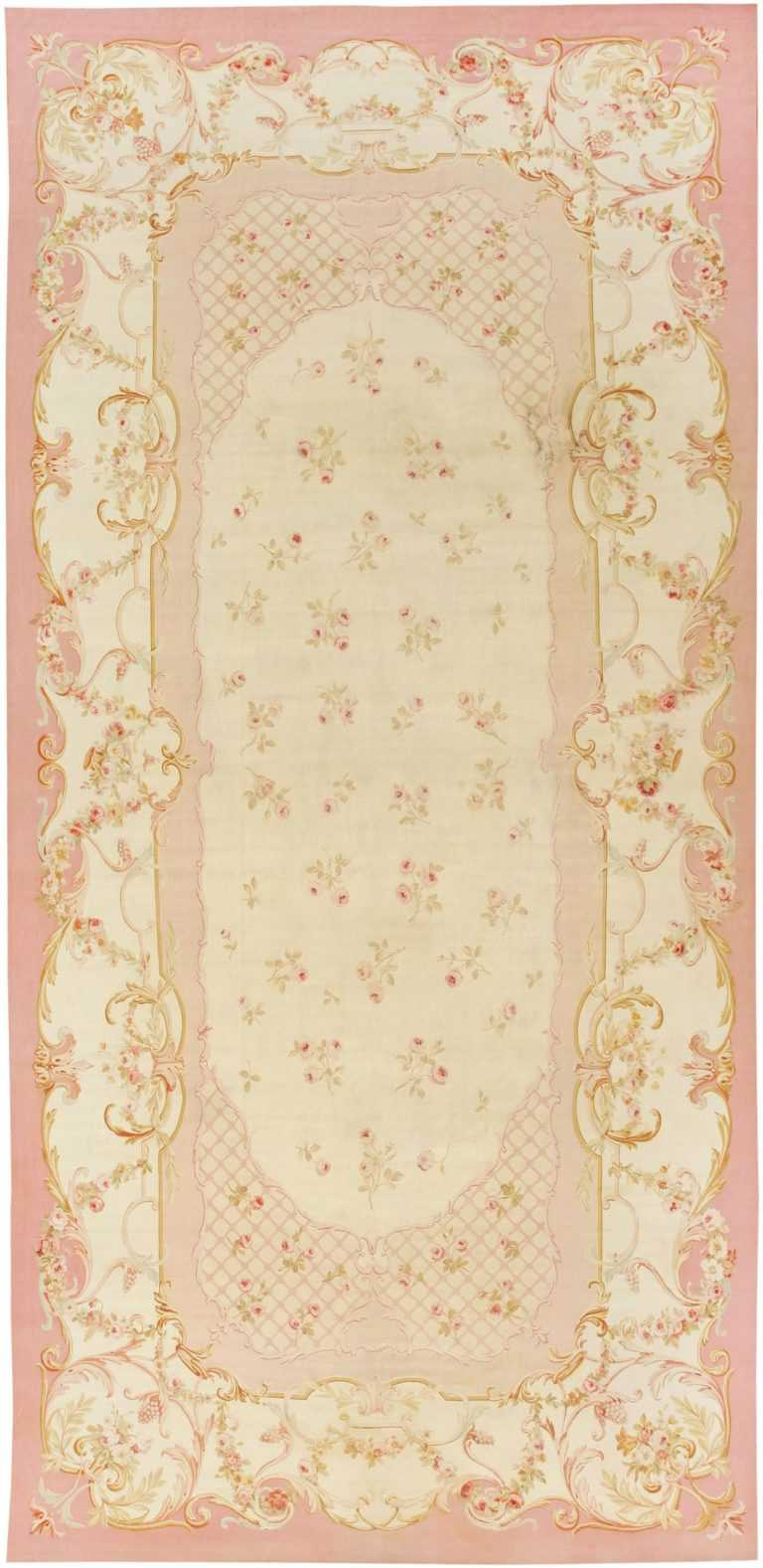 Antique Aubusson Carpet | 43634 by Nazmiyal