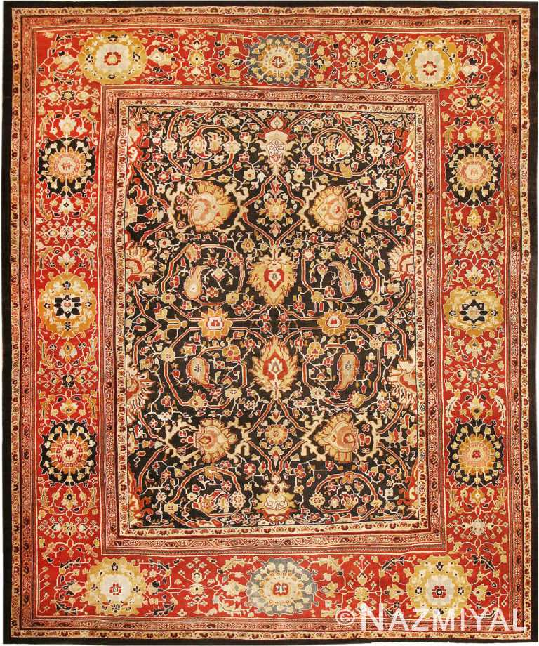 Black and Red Antique Persian Ziegler Sultanabad Rug 45212 by Nazmiyal Antique Rugs