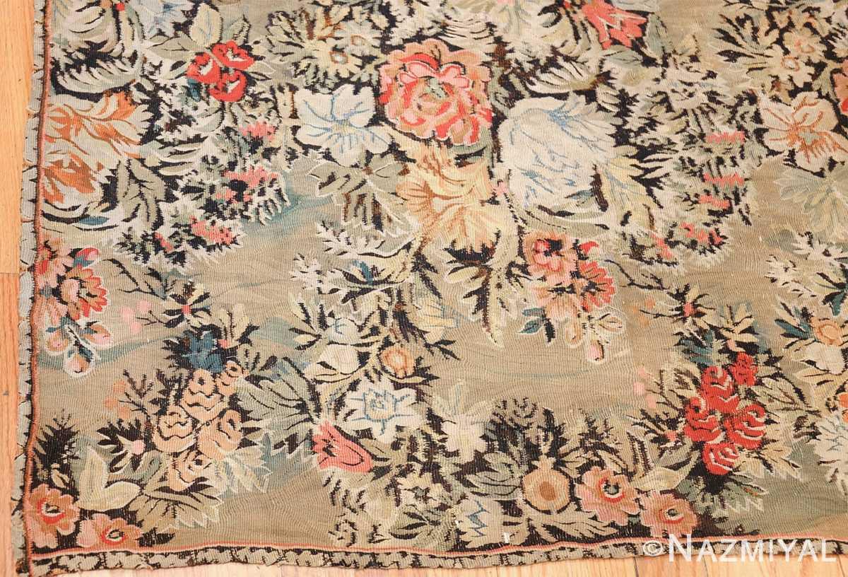 green floral romanian antique bessarabian kilim rug 43433 corner Nazmiyal