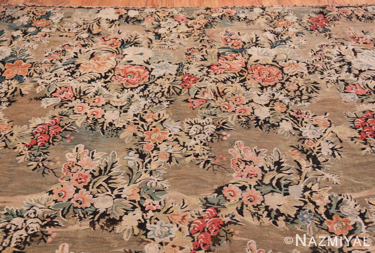 green floral romanian antique bessarabian kilim rug 43433 top Nazmiyal