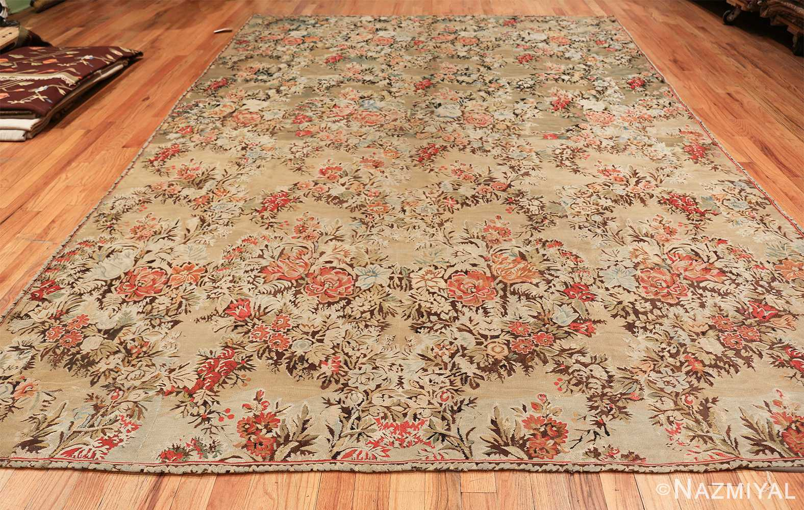 green floral romanian antique bessarabian kilim rug 43433 whole Nazmiyal