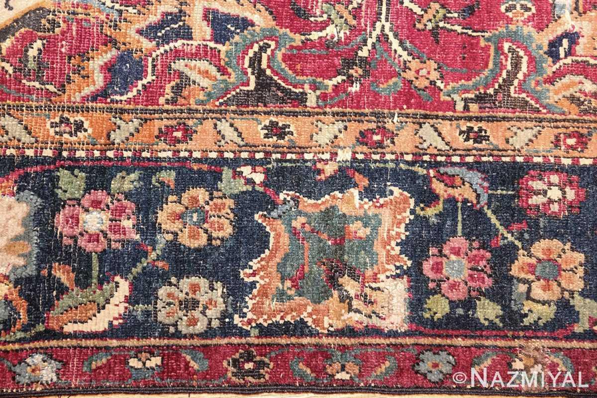 antique 17th century persian esfahan rug 8034 border Nazmiyal
