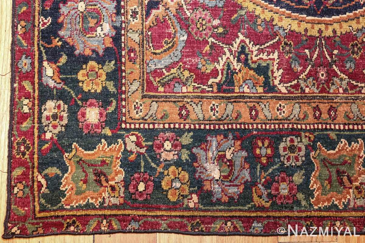 antique 17th century persian esfahan rug 8034 corner Nazmiyal