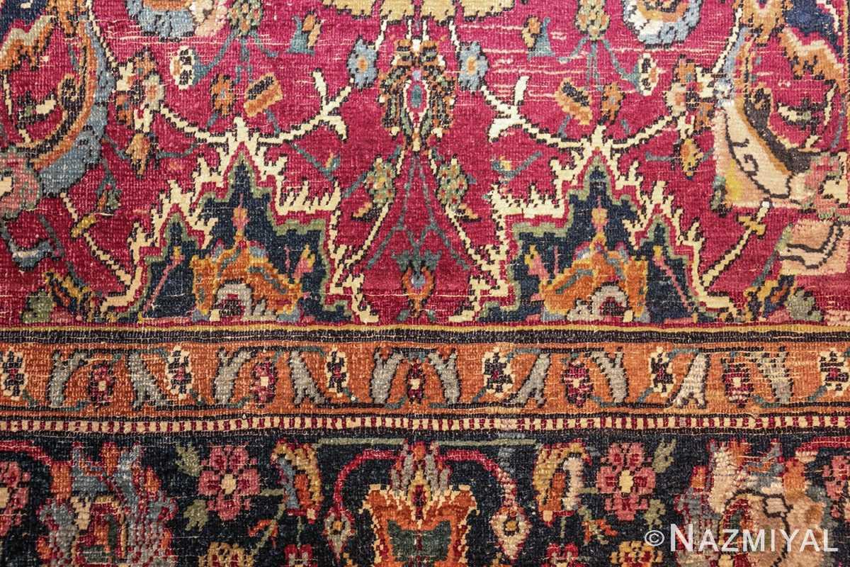 antique 17th century persian esfahan rug 8034 detail Nazmiyal