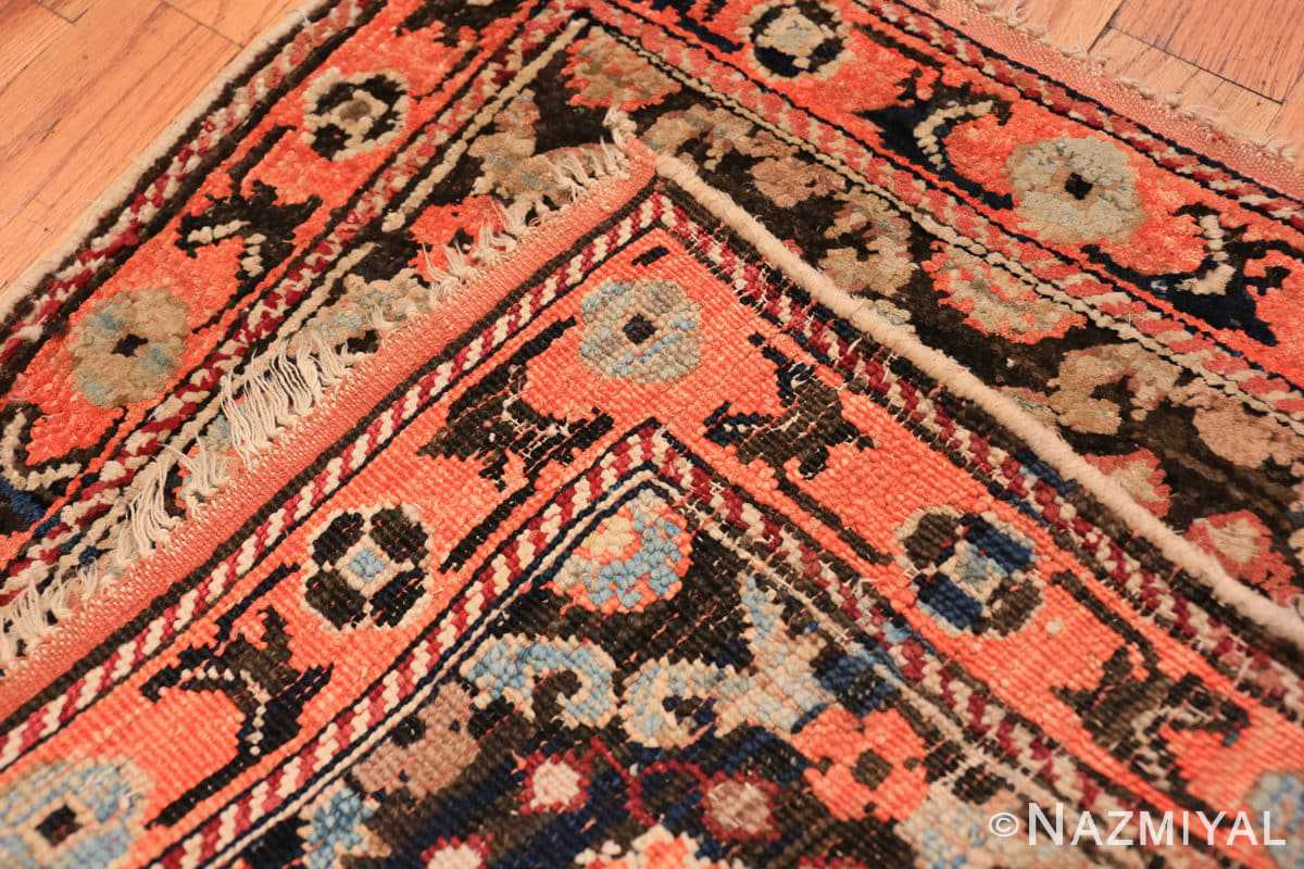 Weave detail small antique silk and cotton Indian Agra rug 41163 by Nazmiyal