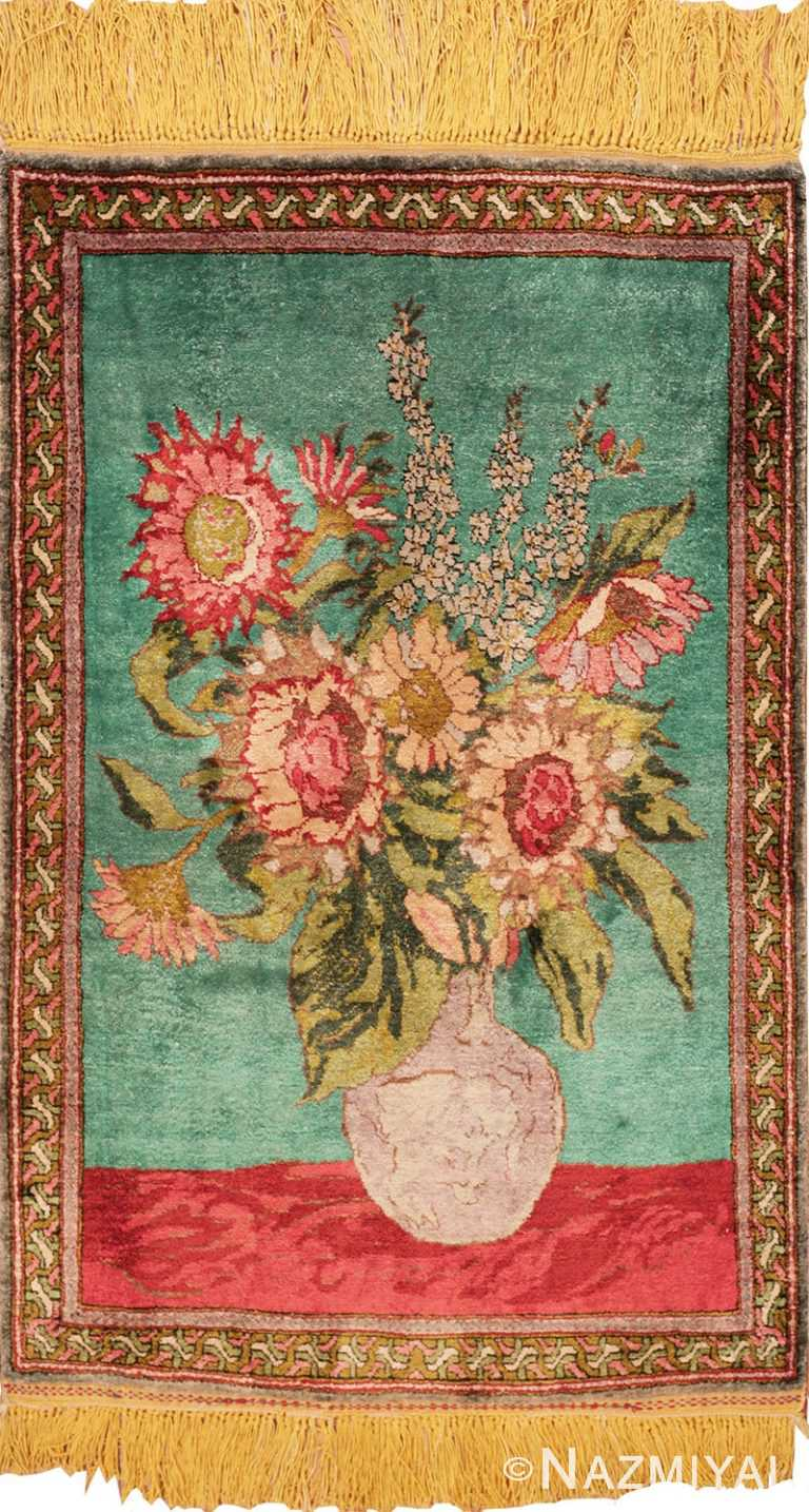 Antique Silk Vase Tabriz Persian Rug - From Nazmiyal Antique Rugs