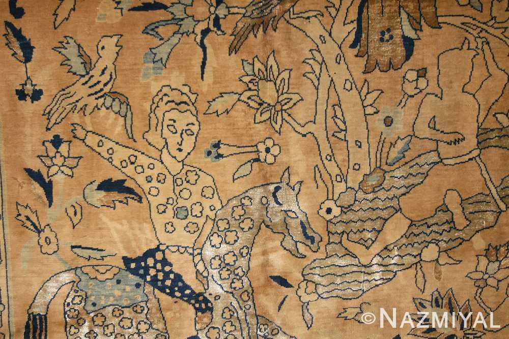 antique silk and wool agra indian rug 3450 bird Nazmiyal