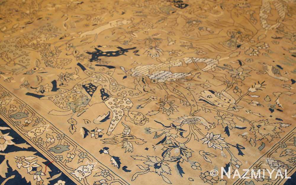antique silk and wool agra indian rug 3450 border Nazmiyal