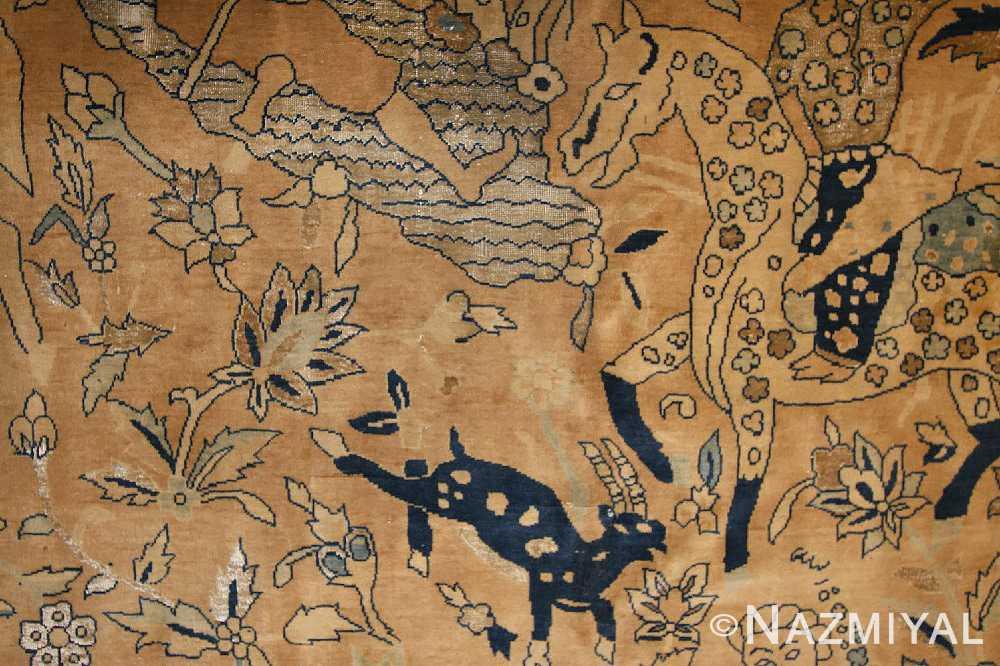 antique silk and wool agra indian rug 3450 field cu Nazmiyal