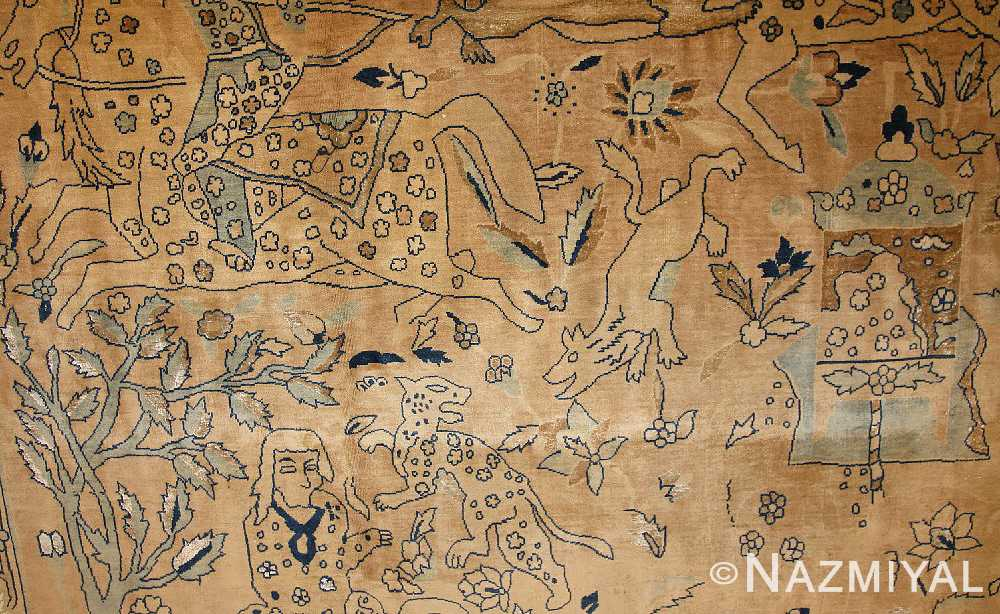 antique silk and wool agra indian rug 3450 field Nazmiyal