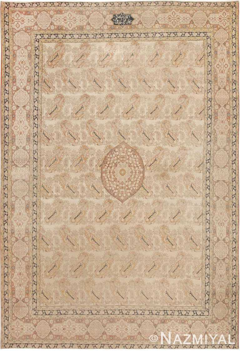 Soft Paisley Design Antique Room Size Persian Tabriz Rug #42333 by Nazmiyal Antique Rugs