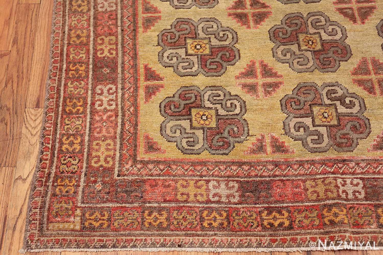 Beautiful Light Green Antique Khotan Rug 42439 Side Corner Nazmiyal