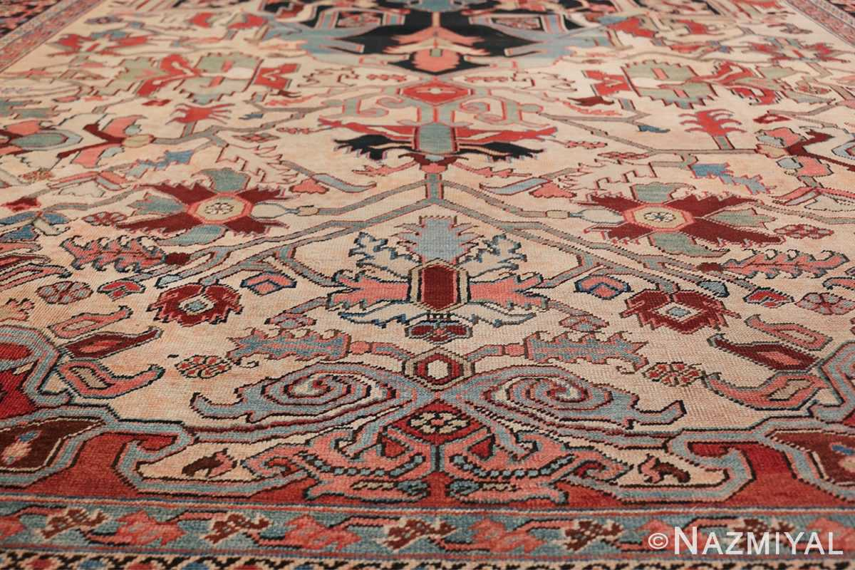 Oversize Antique Persian Heriz Serapi Persian Rug 44085 Blue Lower Design Nazmiyal