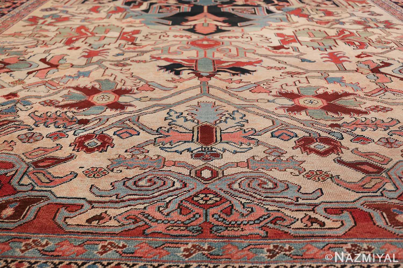 Oversize Antique Persian Heriz Serapi Persian Rug 44085 Blue Lower Design Nazmiyal
