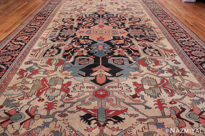 Oversize Antique Persian Heriz Serapi Persian Rug 44085 Field Nazmiyal