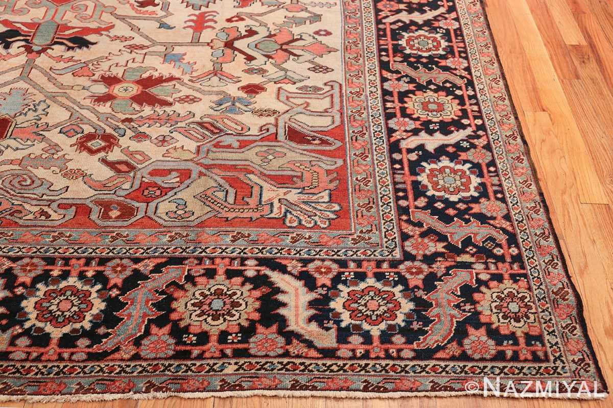 Oversize Antique Persian Heriz Serapi Persian Rug 44085 Side Corner Nazmiyal